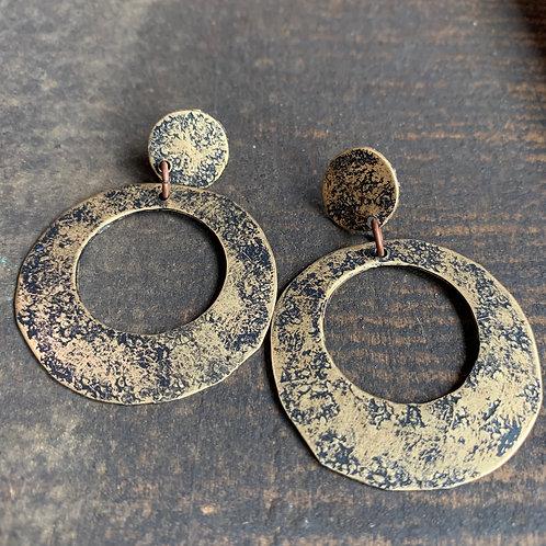 Brass Boho Hoop Dangle Earrings