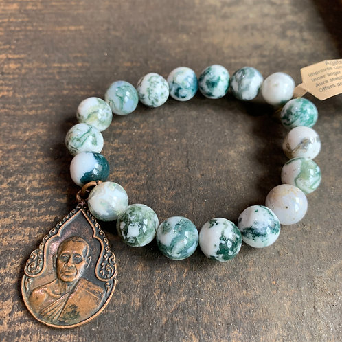 Infinite Warrior Moss Agate Bracelet + Thai Amulet