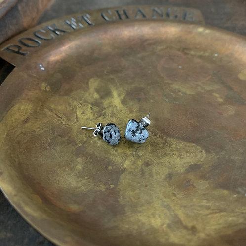 Snowflake Obsidian Crystal Stud Earrings