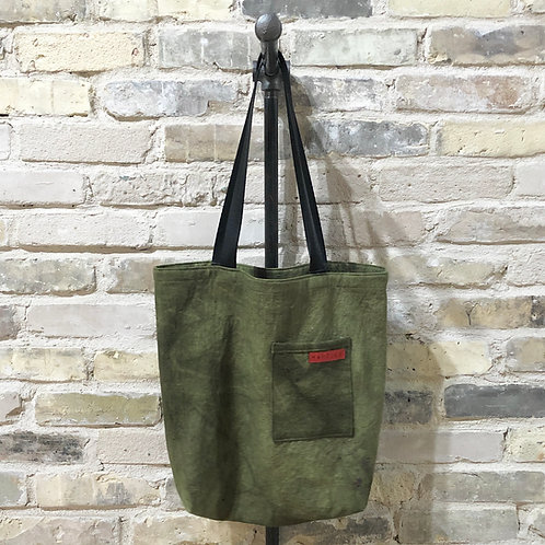 Army Green Shoulder Tote with Violet Specks