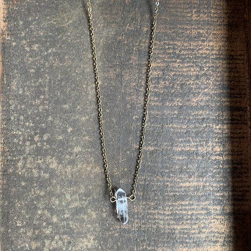 Tiny Simple Quartz Pendant + Brass Chain Necklace