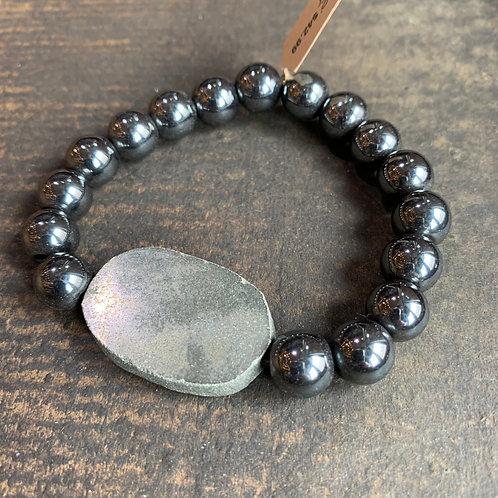 Infinite Warrior Gunmetal Hematite Bracelet with Pyrite