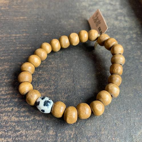 Infinite Warrior Jasper + Wood Bead Bracelet