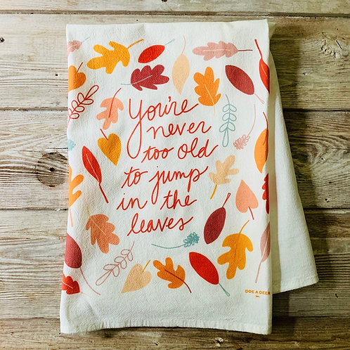 Flour Sack Towel - Jump in the Leaves