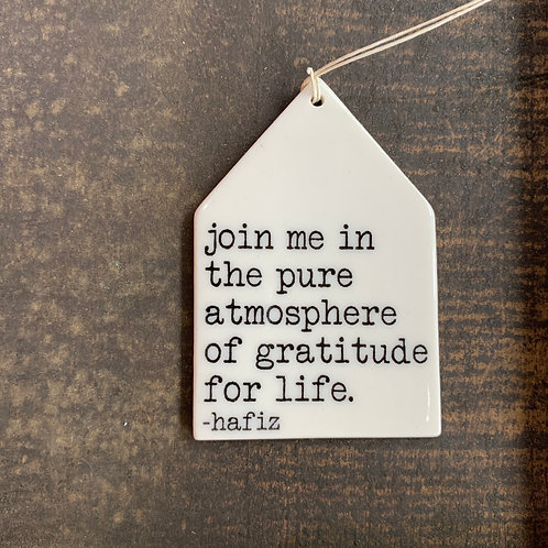 Porcelain Wall Tag - Gratitude for Life