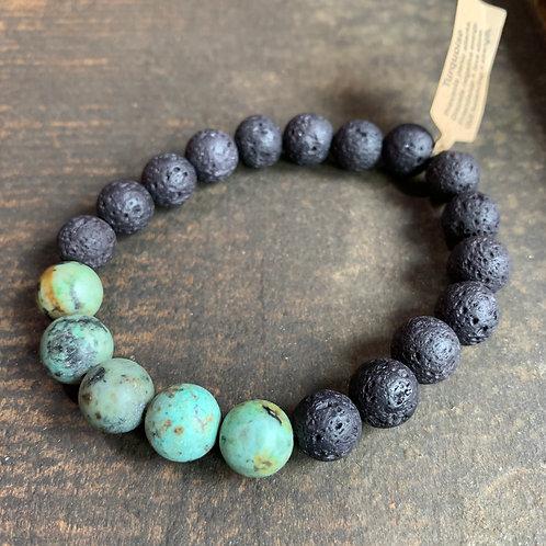Men's Infinite Warrior Matte African Turquoise + Lava Rock Bracelet