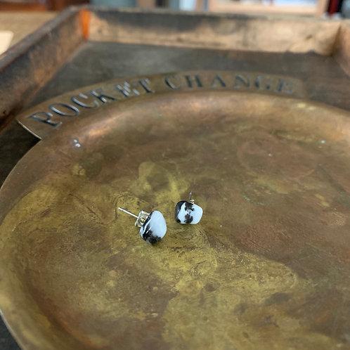 Marble Zebra Crystal Stud Earrings