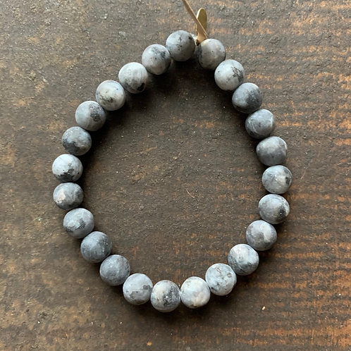 Men's Infinite Warrior Matte Black Labradorite Bracelet