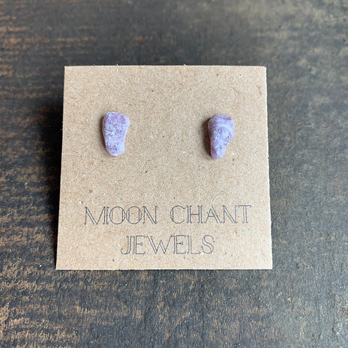 Lepidolite Crystal Stud Earrings