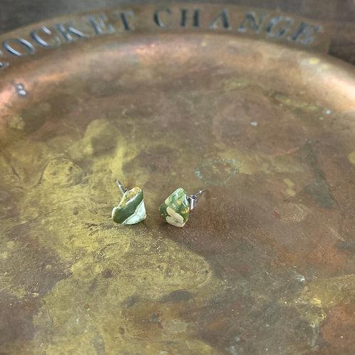 Rainforest Rhyolite Stud Earrings