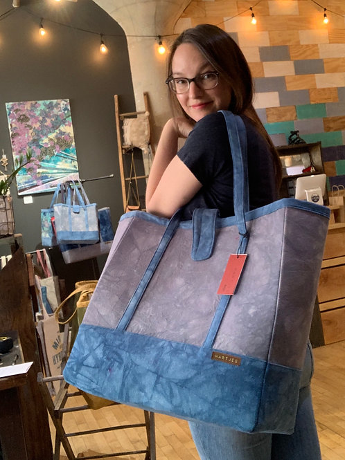Grey + Blue XL Canvas Tote Bag