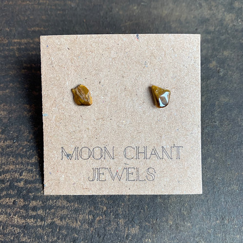 Tiger Eye Crystal Stud Earrings