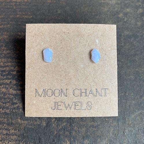 Blue Lace Agate Crystal Stud Earrings