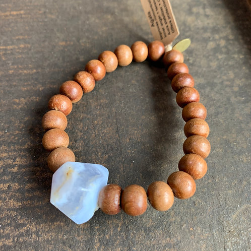 Infinite Warrior Blue Lace Agate Stone with Wood Beads