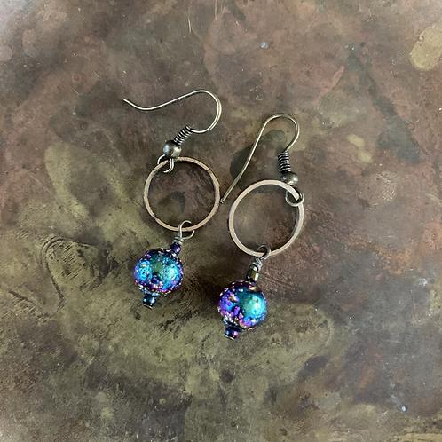 Rainbow Lava Stone + Brass Earrings