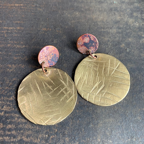 Copper Patina + Textured Brass Earrings