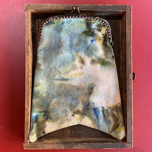 Hartjes Blue + Green Marbled Clasp Clutch Bag