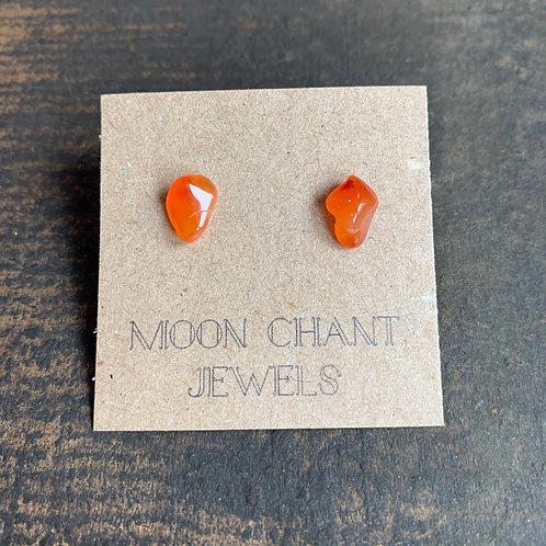 Carnelian Crystal Stud Earrings
