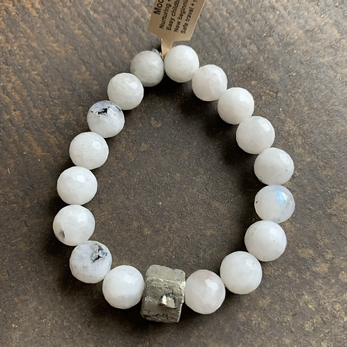 Infinite Warrior Faceted Moonstone + Pyrite Bracelet