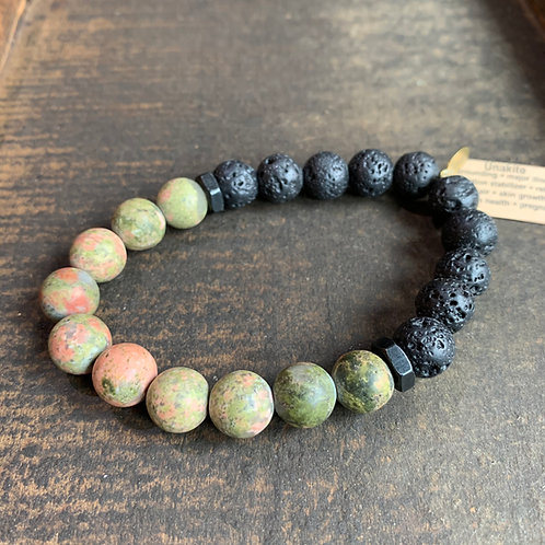 Men's Infinite Warrior Unakite + Lava Rock Bracelet