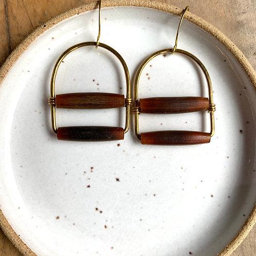 Antiqued Brown Horn + Brass Earrings