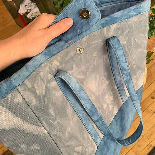 Grey + Blue Canvas Tote Bag