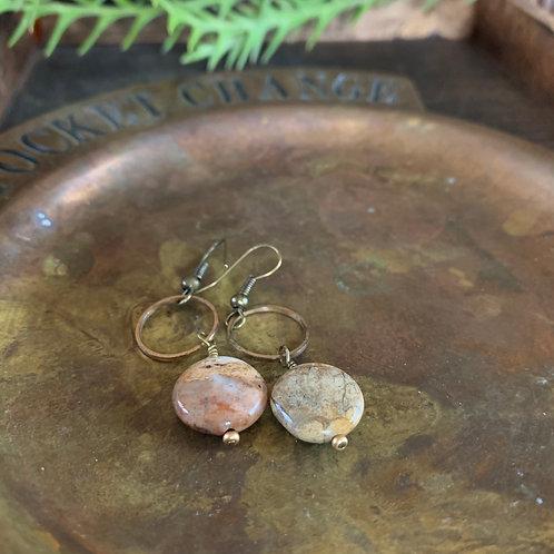 Stone + Brass Earrings #1