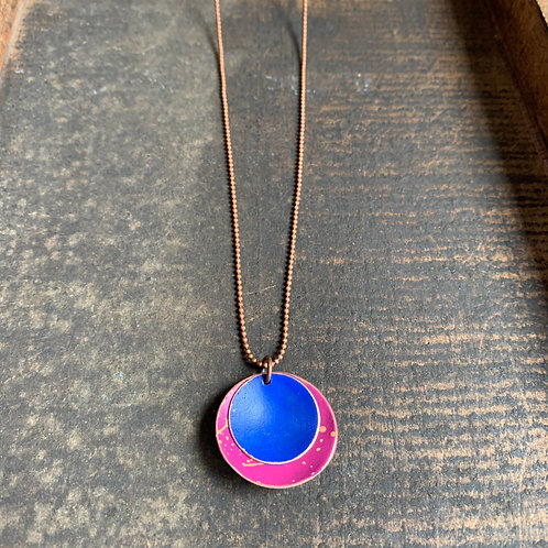 Handpainted Copper Disc Necklace