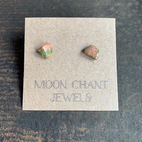 Unakite Crystal Stud Earrings