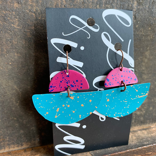 Copper Handpainted Drop Earrings