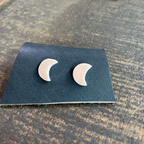 Ceramic Crescent Moon Studs