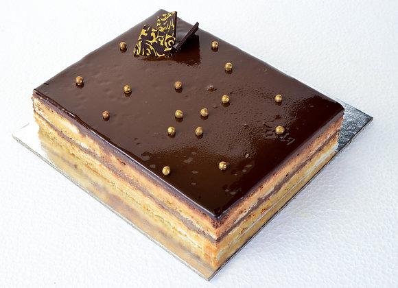 """Salted Caramel Opéra Mousse Cake 8x8"""" (L)"""