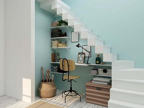 Homeoffice, Bücherregal und Treppe multifunktional genutzt