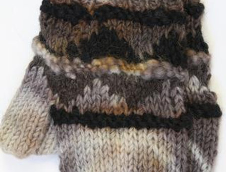 Brown, white & gray knit wool mitts with raised ribs around hand