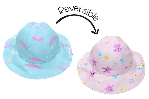 Flapjack Kids 2 in 1 Reversible Patterned Sun Hat - Narwhal / Starfish both sides