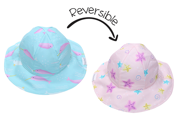 2 in 1 Reversible Patterned Sun Hat - Narwhal / Starfish