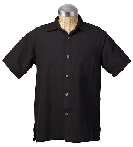 Fair Trade cotton shirt-short sleeves-buttons down the front-solid black cotton