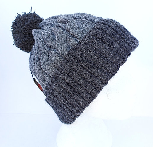 Cable Knit Alpaca wool Hat in Two shades of gray, ribbed Cuff and pompom