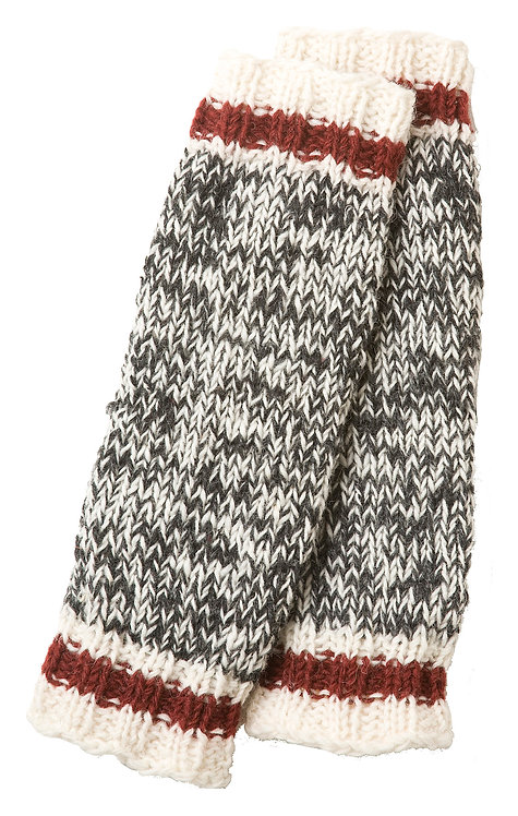 Knit wool leg warmer-charcoal blend with red & white bands at cuffs