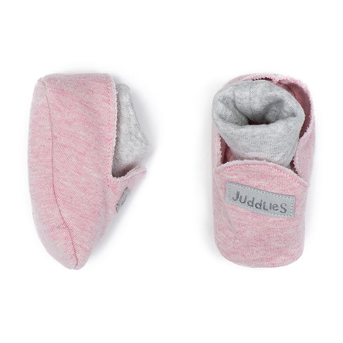 Pair of pink cotton slippers with white inner socks