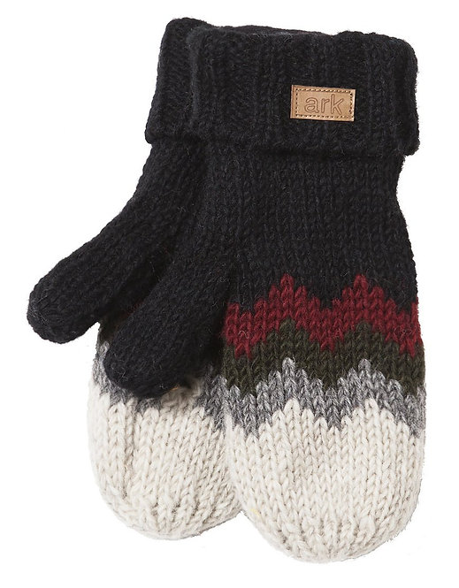 Knit mitts-black with zigzag stripes of burgundy & teal-white tips
