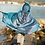 Back view of child playing wearing shimmering blue-gold dragon cape with hood & scales