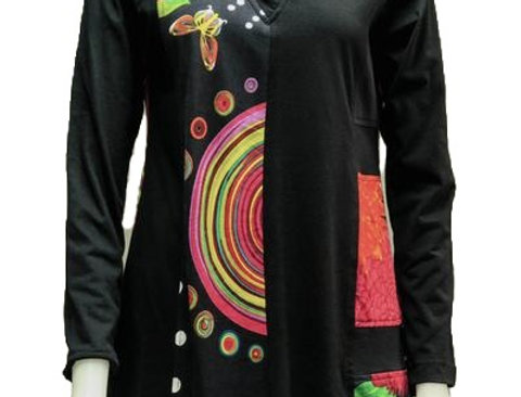 Front view of black V-neck long sleeved tunic with bold red, yellow & white print