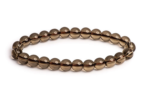 Smoky quartz stone bead stretch bracelet