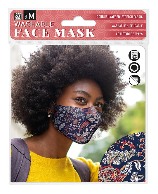 Packaging showing model wearing navy mask with red, tan, gray white paisley print