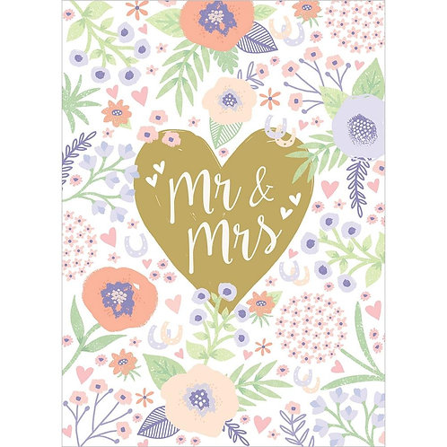 Front of white card with pretty pink & green floral design, gold heart in center with text 'Mr. & Mrs.'