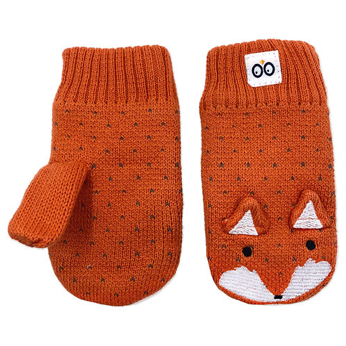 pair of orange knit baby mittens with black & white fox face & ears