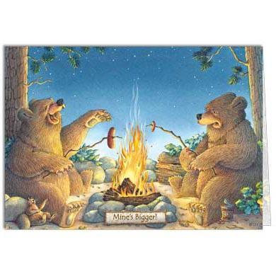 Front of card-2 bears roasting sausages over campfire-1 big-1 small-text 'Mine's bigger!'