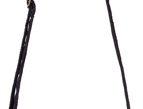 Black hemp purse with long shoulder strap, front zip pocket