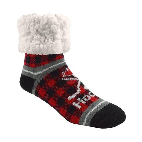 Black & red checkered slipper sock-maple leaf-crossed hockey-sticks & puck-text'Hockey'